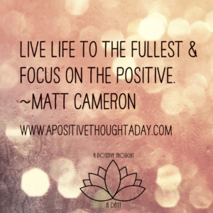 Live life to the fullest, and focus on the positive. ~~Matt Cameron